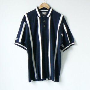 """Other - Vintage 90s """"Wesco"""" Logo Navy & White Striped Polo"""